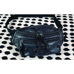 Vintage Totes Sport Black Leather Belt Bag